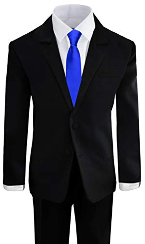 Black N Bianco Boys Formal Black Suit with Shirt and Vest (6, Black with Blue Tie)