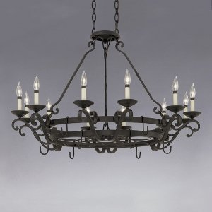 Designers Fountain 9031-NI Natural Iron Barcelona 12 Light Chandelier w/Pot Rack - Lighted Pot Rack
