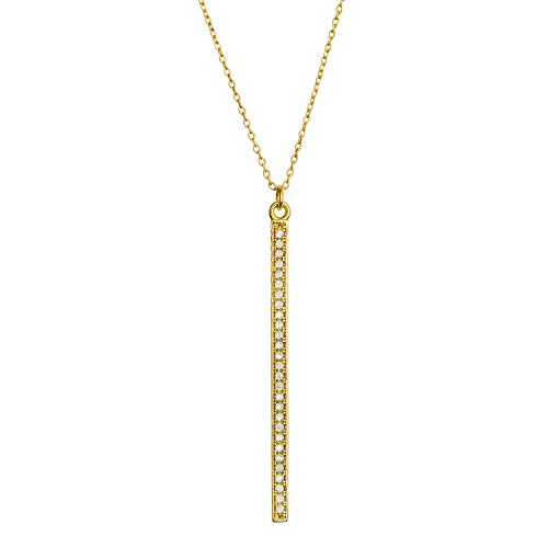 Benevolence LA Gold Necklaces for Women - Celebrity Endorsed Gold Necklaces for Women Pendant Tassel Gemstone Necklace Chain Fashion Jewelry for Women Everyday Teens Girl (Vertical Bar) ()