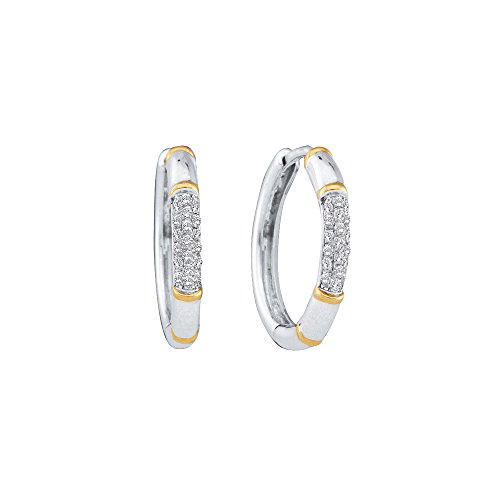 14kt White Gold Womens Round Diamond Two-tone Cluster Hoop Earrings 1/6 Cttw (2 Diamond Tone Earrings 14kt)
