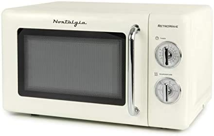 Nostalgia RMOD7IVY 0.7 Cu. Ft. 700-Watt Microwave With Retro Turn Dials & Chrome Handle, 30 Minute Timer, 10-Inch Turntable, Ivory