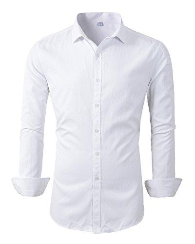 Mens Long Sleeve Slim Fit Dress Shirts (M, 455White)