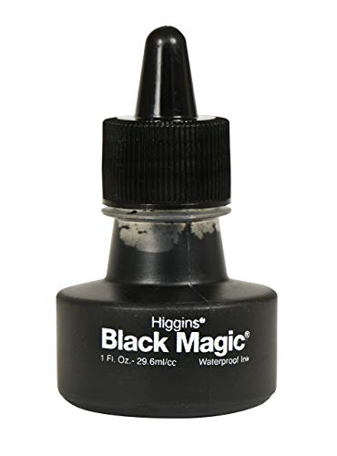 Higgins Black Magic Pigmented Drawing Ink, 1 Ounce Bottle (44011)