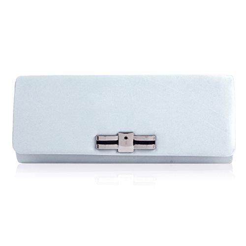 Elegant Party Evening Smooth Simple Silver Damara Bag Womens Clutch fZT7x7