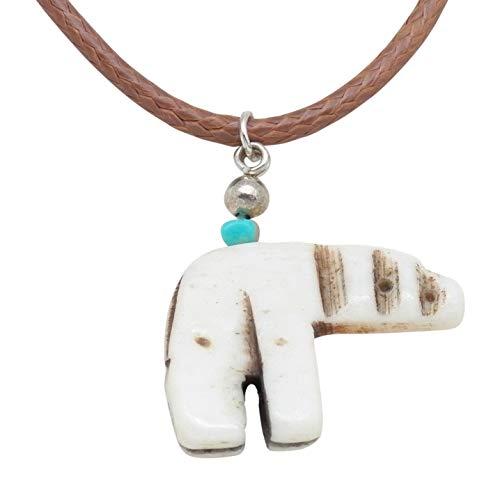 Fundamental Rockhound: Bone Polar Bear Turquoise Bead Necklace Pendant on 16