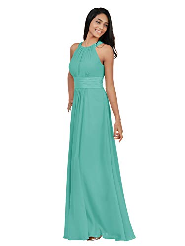 Alicepub Chiffon Bridesmaid Dresses Long for Women Formal Evening Party Prom Gown Halter, Tiffany, US10