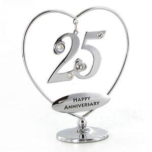 Silver 25th Wedding Anniversary Crystocraft Heart Ring
