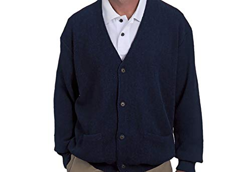 100% Royal Alpaca Cardigan, Blue, XXL