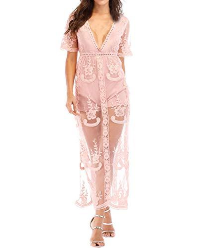 - BBYES Women's Vintage Lace Crochet Short Sleeve Side Split See Through Long Maxi Dress Pink 2XL