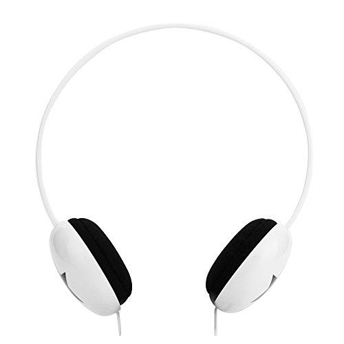 RockPapa On Ear Adjustable Boys Girls Childs Kids Headphones Earphones Lightweight for MP3/4 DVD Tablets Phones DVD PC innoTab PSP White
