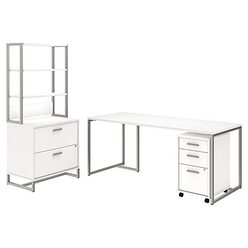 Office by kathy ireland Method 72W Table Desk with File Cabinets and Hutch in White