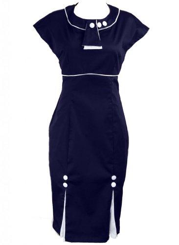 Navy Blue Pinup Bombshell 1930s Kick Pleated Rockabilly Pencil Women's Dress - Small