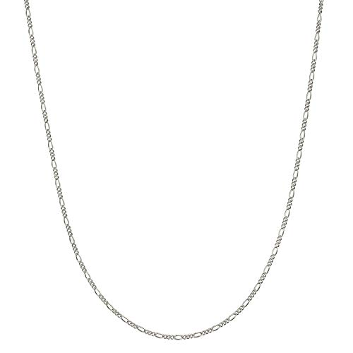 Solid 925 Sterling Silver 1mm Italian Figaro Link Chain Necklace - 18