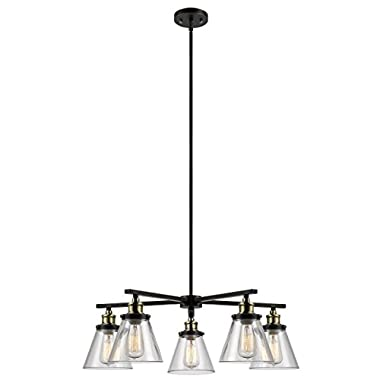 Globe Electric 65617 Shae 5-Light Vintage Edison Chandelier, Oil Rubbed Bronze