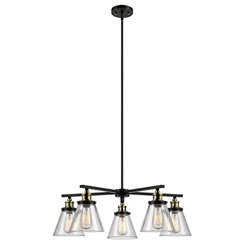 Globe-Electric-Shae-5-Light-Vintage-Edison-Chandelier-Oil-Rubbed-Bronze-Finish-Antique-Brass-Decorative-Sockets-Clear-Glass-Shades-65617