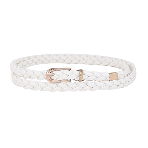 Damara Women Thin Braided Single Prong Buckle Waist Belt,White ()