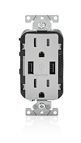 Leviton 004-T5632-0GY 15 Amp Gray USB Charger/Tamper-Resistant Duplex - Gray Plug