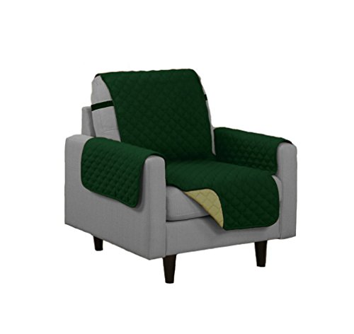 Quilted Reversible Microfiber Pet Dog Couch Furniture Protector Cover (Chair, Sage/Hunter Green) ()