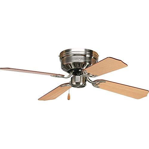 Progress Lighting P2524-09 42-Inch Hugger 4 Blade Fan with 3-Speed Reversible Motor with Reversible Cherry or Natural Cherry Blades, Brushed Nickel from Progress Lighting