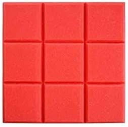 多目的ピアノの部屋の音響パネル、四角い壁に柔らかいタッチ録音スタジオリビングルームの吸音綿、10ピース (Color : Red)