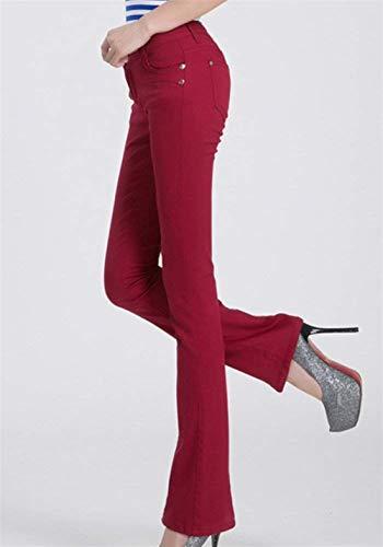 Mujer Pantalones Jeans Acampanados Con Bolsillos Color Size color Botón Casuales Mujeres 28 Skinny Micro De Burgunderrot Casual Slim Sólido Fit rrw5Sn