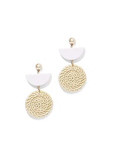 (New York & Co. Women's Goldtone Basket-Weave Drop Earring 0 Paper White )