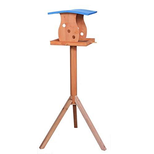 MUWNQ Wooden Bird Table Garden Birdhouse Feeder Sheltered Breeding Station Portable Stand-Alone Feeding Station