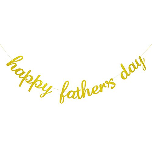 Gold Glitter Happy Fathers Day Banner | Fathers Day Party Decorations | Fathers Day Party Supplies ()