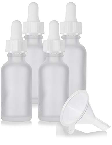 1 oz Frosted Clear Glass Boston Round White Dropper Bottle (4 Pack) + Funnel for Essential Oils, Aromatherapy, e-Liquid, Food Grade, bpa Free