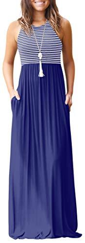 Gray Striped Skirt - Gray Women Striped Sleeveless Tunic Vintage Summer Casual Maxi Long Dress Pocket