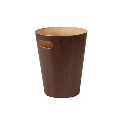 (HGXC Trash can Trash Can, Household Storage Bucket Living Room Bedroom Without Cover Wood Grain Round Wastebasket Office 9L (Color : D))