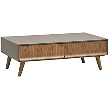 Rivet Mid-Century Lacquer Two-Drawer Coffee Table, Grey and Walnut