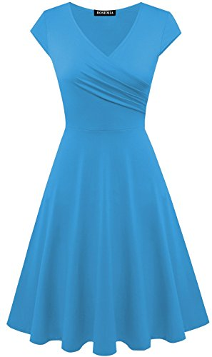 Womens V neck Casual A line Dresses(Lake blue,M) (M&m Dress)