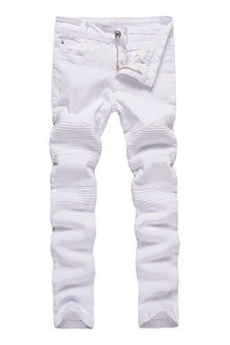 Boy's White Biker Moto Ripped Distressed Fashion Skinny Slim Fit Jeans 12 (Fashion Slim Jeans Fit)