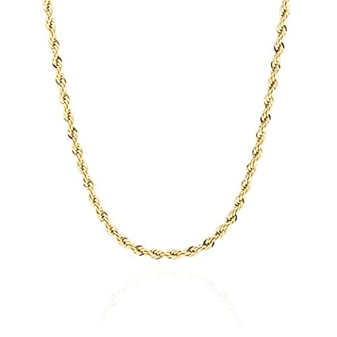 Lifetime Jewelry 3MM Rope Chain, 24K Gold with Inlaid Bronze Premium Fashion Jewelry Pendant Necklace Made to Wear Alone or with Pendants, Guaranteed for Life, 16 - 18k Rope Necklace
