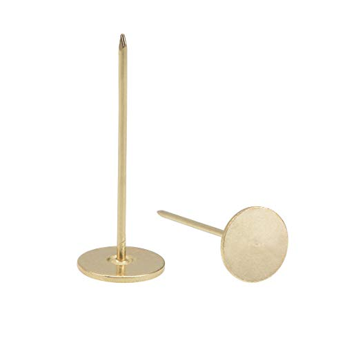 uxcell Upholstery Nails Tacks 18mmx50mm Flat Head Furniture Nails Gold Tone 40 Pcs