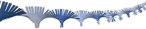 Hand Made by Aunty Mabel NOW MADE WITH NEW SUPERIOR QUALITY CREPE PAPER Hand Fringed Ceiling Decoration Streamer Party Wedding Christmas dark blue and white