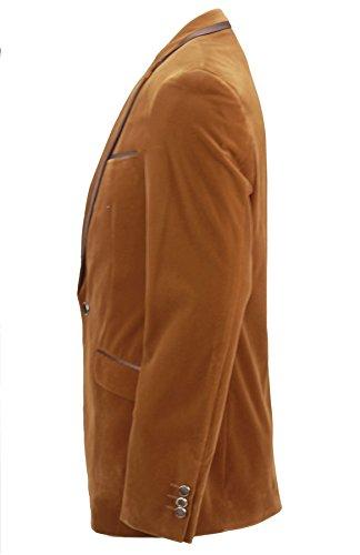 - Tan Gilet en velours doux avec bordure Dinner poches un seul bouton