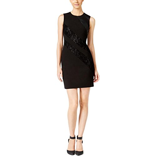 Calvin Klein Womens Petites Mixed Media Sleeveless Casual Dress Black 2P by Calvin Klein