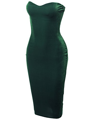 Back Body Con Dress - Solid Sexy Velvet Sweetheart Neck Tube Body-Con Midi Dress Emerald S