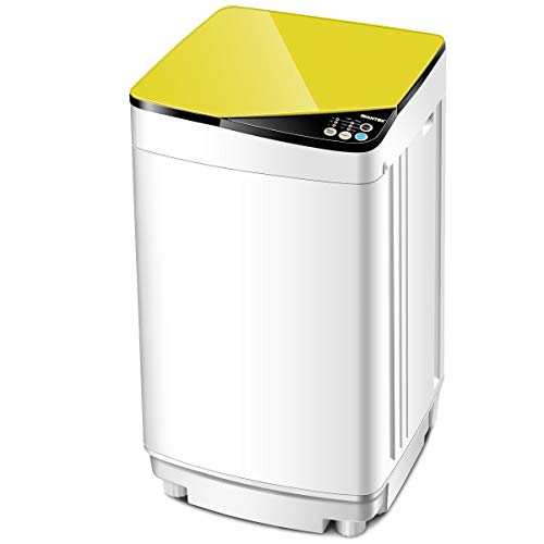 Giantex Full-Automatic Washing Machine Portable Washer and Spin Dryer 10 lbs Capacity Compact Laundry Washer with Built-in Barrel Light Drain Pump and Long Hose for Apartments Camping (White & Yellow) (Best Washer And Dryer In One)