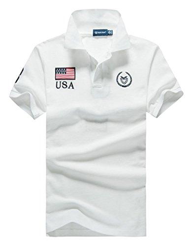 (シンアンドケン) sin&ken ポロシャツ メンズ シャツ 半袖 ポロ ゴルフウェア トップス XL USA ホワイト [並行輸入品]