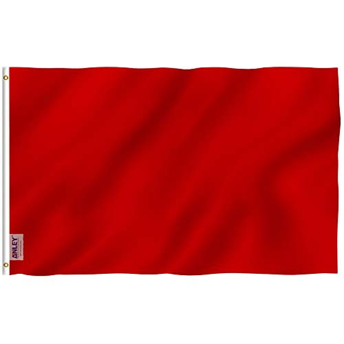 Anley Fly Breeze 3x5 Foot Solid Red Flag - Vivid Color and UV Fade Resistant - Canvas Header and Double Stitched - Plain Red Flags Polyester with Brass Grommets 3 X 5 Ft
