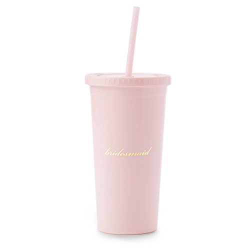 Kate Spade New York Insulated Plastic Tumbler with Reusable Straw for Bridesmaids, 20 Ounces, Hocus To My Pocus