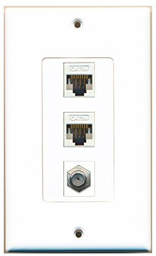 Wall 1 Plate Port Cat5e (RiteAV - 1 Port Coax Cable TV- F-Type 2 Port Cat5e Ethernet Decorative Wall Plate - White)