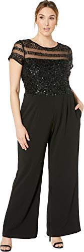 Bodice Illusion - Adrianna Papell Women's Plus Size Crepe Jumpsuit Black 20 W