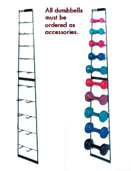 Hausmann Model 555-100 Accessorized Wall Dumbell Rack