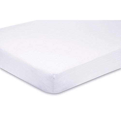 Sasma Home - 100% Cotton Jersey Soft Travel Cot Fitted Sheets 95 x 65 cm (Pack of 2 Sheets - White) Sasma Ltd