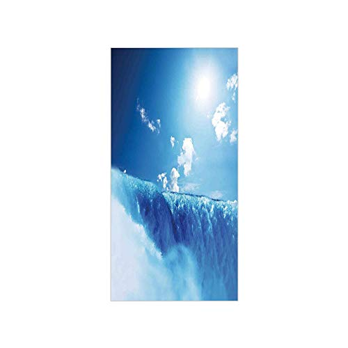 3D Decorative Film Privacy Window Film No Glue,Waterfall,Niagara Falls and Clear Sky Landscape Image Majestic River Nature Theme Artistic Print,Blue,for Home&Office -
