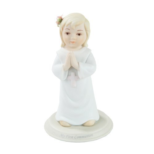 """Pacific Giftware First Communion Toddler Girl Praying Statue Fine Porcelain Figurine, 5.25"""" H"""